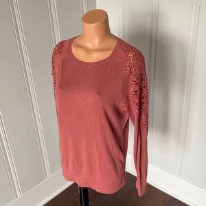 Loft Crochet Embroidered Long Sleeve Sweater M